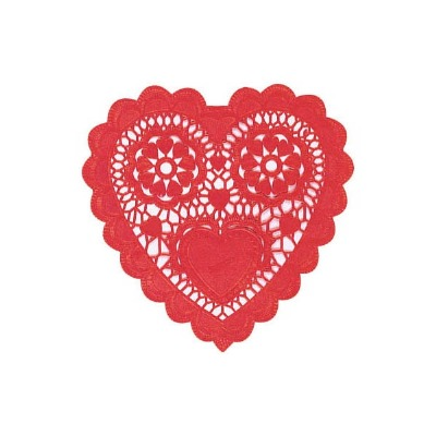 """6"""" Heart Doilies Red"""