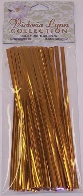 "6"" Twist Ties Gold 80 CT"