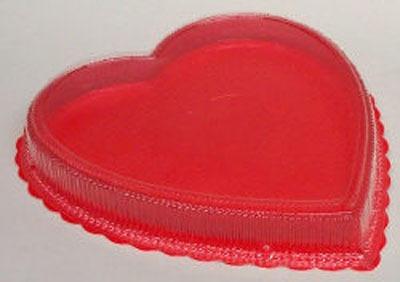 8 OZ Plastic Heart Box Red