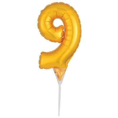 Balloon Cake Pick Gold 9