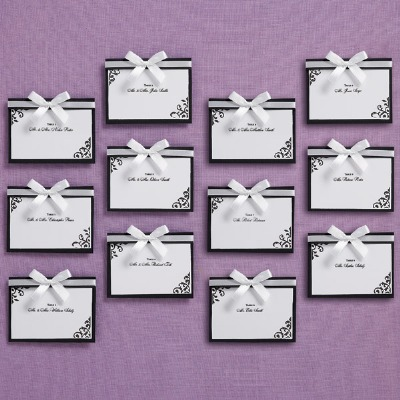 Black Placecard & Bow 25 CT