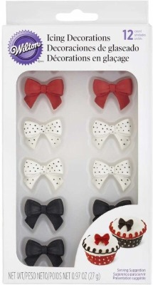 Black/Red/White Bow Icing Decs