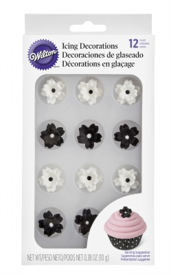 Black & White Flower Icing Decs