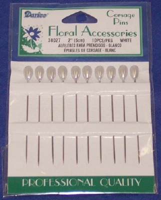 Corsage Pins Pear White 10 CT