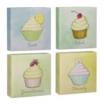 Cupcake Canvas Plaque Set of 4