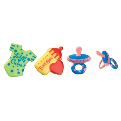 Cupcake Rings Cake Topper Baby Symbols Baby Bottle Pacifier Baby Shirt