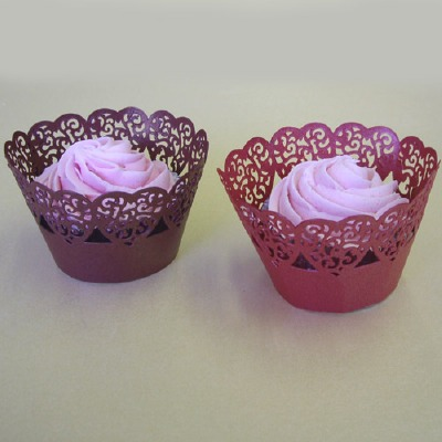 Cupcake Wrap Hearts Red 12 CT