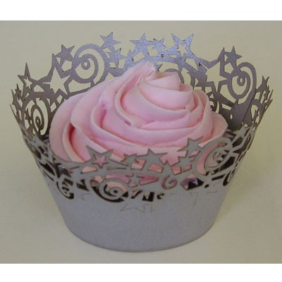 Cupcake Wrap Silver Star 12 CT