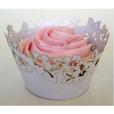 Cupcake Wrap White Flower 12CT