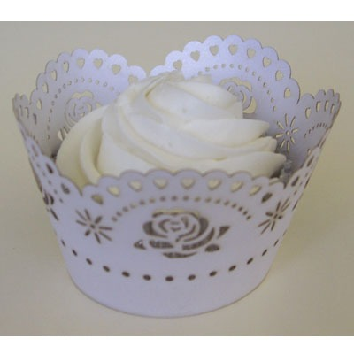 Cupcake Wrap White Rose 12 CT