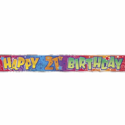 Foil Banner Happy 21st Birthday