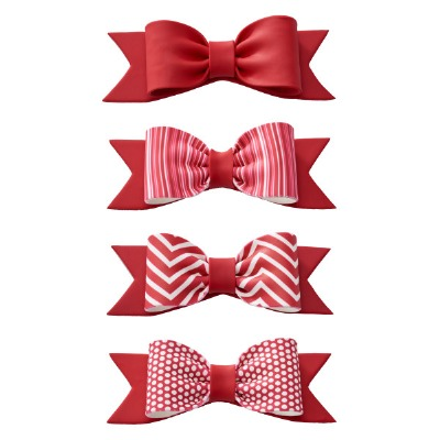 Gum Paste Bow Red Dots