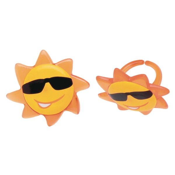 12 SUN FACE Cupcake Rings Summer Fun Sunglasses Cake Toppers Birthday Party Decoration Picks