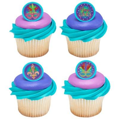 Mardi Gras Cupcake Rings 12CT