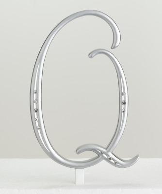 Monogram Silver Rhinestone Q