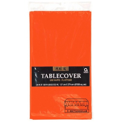 "Plastic Tablecover 54""X108"" Orange"