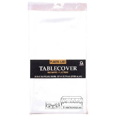 """Plastic Tablecover 54""""X108"""" White Lace"""