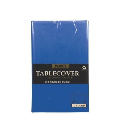 """Plastic Tablecover 84"""" Round Navy Blue"""