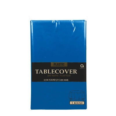 """Plastic Tablecover 84"""" Round Royal Blue"""