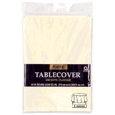 "Plastic Tablecover 84"" Round Van Creme"