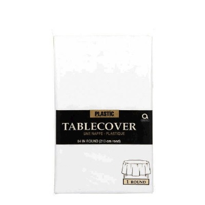 "Plastic Tablecover 84"" Round White"