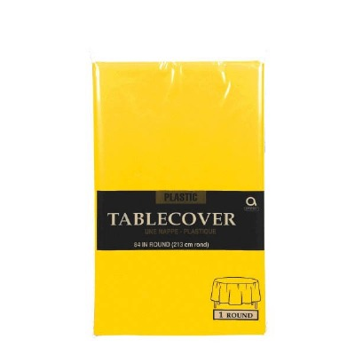 """Plastic Tablecover 84"""" Round Yellow"""