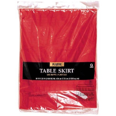 """Plastic Table Skirt 14'X29"""" Red"""