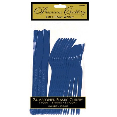 Premium Cutlery 24 CT Navy Blue