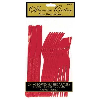 Premium Cutlery 24 CT Red