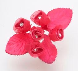 Red Satin Flower Rhinestone