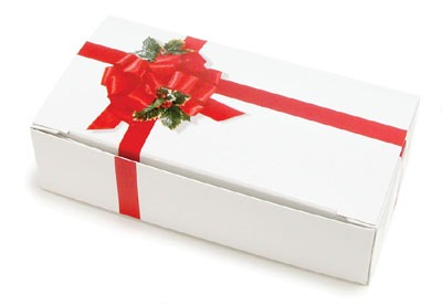 Ribbon & Holly Candy Box 1/2 LB