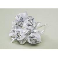 Silver Flower Spray w/ Pearls