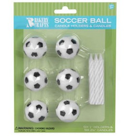 Soccer Ball Candle Holder 6 CT