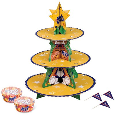 Sports 49 Piece Cupcake Stand Kit For Parties with Cake Picks