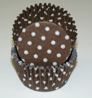 "1-1/4""X 2"" Brown with White Dots Baking Cups 500 Count"
