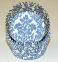 """1-1/4""""X2"""" Damask Blue Baking Cups 500 Count"""