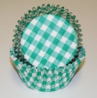 "1-1/4""X2"" Gingham Green Baking Cups 500 Count"