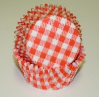 "1-1/4""X2"" Gingham Orange Baking Cups 500 Count"
