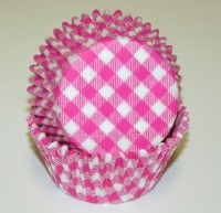 "1-1/4""X2"" Gingham Pink Baking Cups 500 Count"