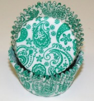 "1-1/4""X2"" Paisley Green Baking Cups 500 Count"