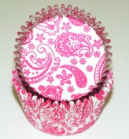 "1-1/4""X2"" Paisley Pink and White Baking Cups 500 Count"