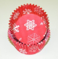 "1-1/4""X2"" SnowFlake Red Baking Cups 500 Count"