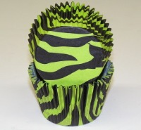 "1-1/4""X2"" Zebra Black & Green Baking Cups 500 Count"