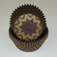 "1.25"" X 2"" Chevron Brown and Gold Baking Cups 500 Count"