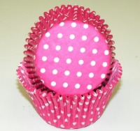 "1-7/8""X2.5"" Muffin Baking Cups Pink with White Dots 500 Count"