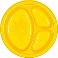 "10.25"" Divided Plate 20 CT Yellow"