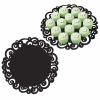 "12"" Doily Swirl Black 6 CT"