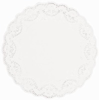 "12"" White Doilies Round 9 CT"