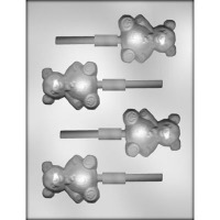 "2.5"" Bear w/Bow Lolly Mold (4)"