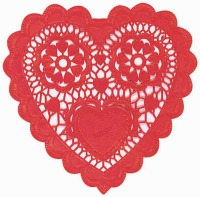 "3.5"" Heart Doilies Red"